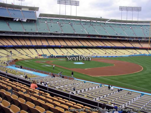 Seat view from loge box section 152 at Dodger Stadium, home of the Los Angeles Dodgers