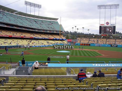 Seat view from dugout club section 6 at Dodger Stadium, home of the Los Angeles Dodgers