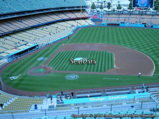 Seat view from reserve section 16 at Dodger Stadium, home of the Los Angeles Dodgers