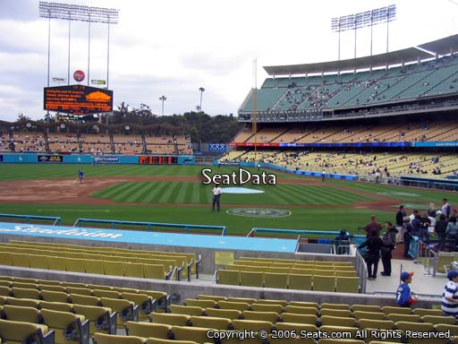 Seat view from dugout club section 9 at Dodger Stadium, home of the Los Angeles Dodgers