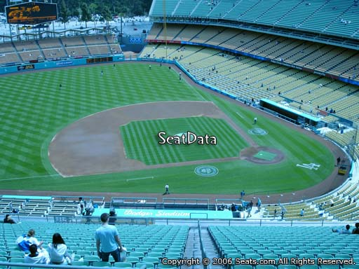 Seat view from reserve section 17 at Dodger Stadium, home of the Los Angeles Dodgers