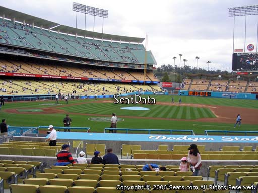 Seat view from field box section 18 at Dodger Stadium, home of the Los Angeles Dodgers