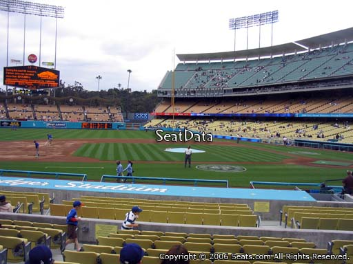 Seat view from dugout club section 11 at Dodger Stadium, home of the Los Angeles Dodgers