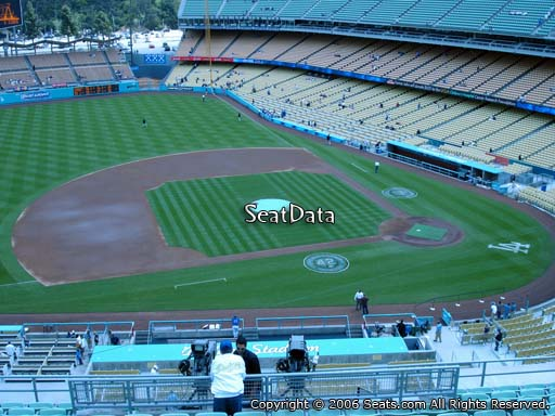 Seat view from reserve section 19 at Dodger Stadium, home of the Los Angeles Dodgers