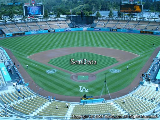 Seat view from reserve section 1 at Dodger Stadium, home of the Los Angeles Dodgers