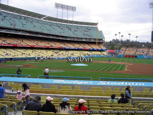 Seat view from dugout club section 8 at Dodger Stadium, home of the Los Angeles Dodgers