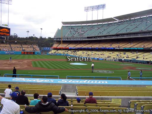 Seat view from field box section 21 at Dodger Stadium, home of the Los Angeles Dodgers