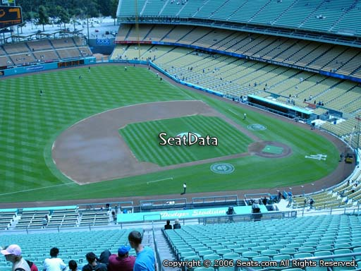 Seat view from reserve section 21 at Dodger Stadium, home of the Los Angeles Dodgers
