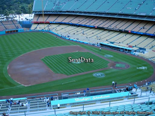 Seat view from reserve section 23 at Dodger Stadium, home of the Los Angeles Dodgers