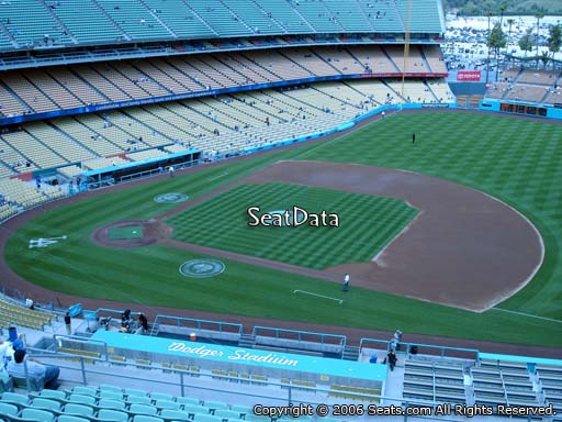 Seat view from reserve section 24 at Dodger Stadium, home of the Los Angeles Dodgers