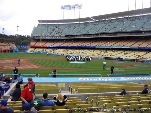 Seat view from field box section 25 at Dodger Stadium, home of the Los Angeles Dodgers