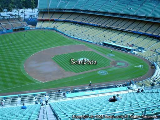 Seat view from reserve section 25 at Dodger Stadium, home of the Los Angeles Dodgers