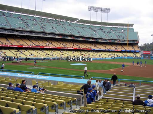 Seat view from field box section 26 at Dodger Stadium, home of the Los Angeles Dodgers