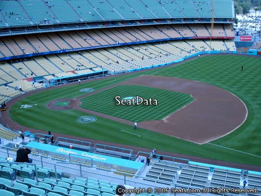 Seat view from reserve section 28 at Dodger Stadium, home of the Los Angeles Dodgers
