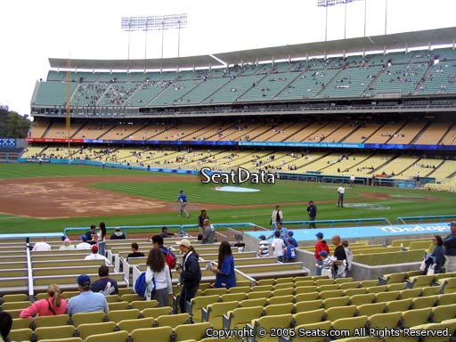Seat view from field box section 29 at Dodger Stadium, home of the Los Angeles Dodgers