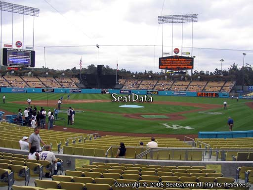 Seat view from dugout club section 3 at Dodger Stadium, home of the Los Angeles Dodgers