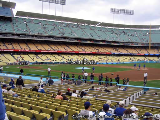 Seat view from field box section 30 at Dodger Stadium, home of the Los Angeles Dodgers