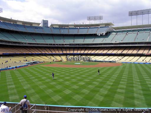 Seat view from right field pavilion section 308 at Dodger Stadium, home of the Los Angeles Dodgers