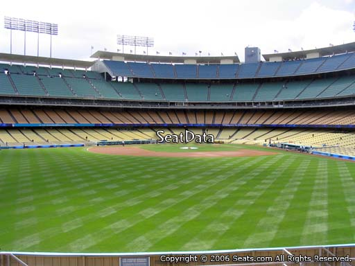 Seat view from left field pavilion section 309 at Dodger Stadium, home of the Los Angeles Dodgers