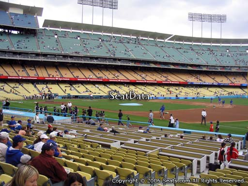 Seat view from field box section 32 at Dodger Stadium, home of the Los Angeles Dodgers