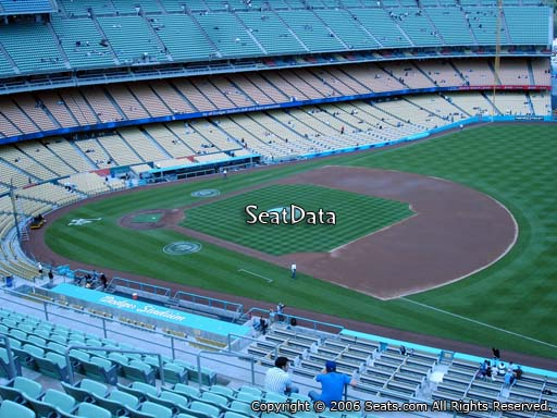 Seat view from reserve section 32 at Dodger Stadium, home of the Los Angeles Dodgers