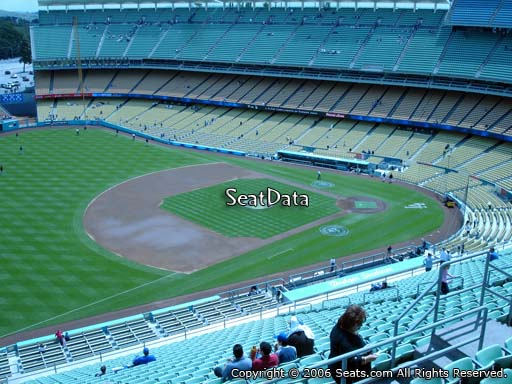 Seat view from reserve section 33 at Dodger Stadium, home of the Los Angeles Dodgers