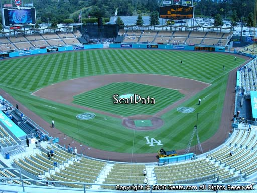 Seat view from reserve section 3 at Dodger Stadium, home of the Los Angeles Dodgers