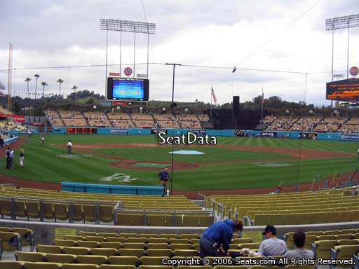 Seat view from field box section 4 at Dodger Stadium, home of the Los Angeles Dodgers