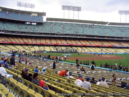 Seat view from field box section 42 at Dodger Stadium, home of the Los Angeles Dodgers