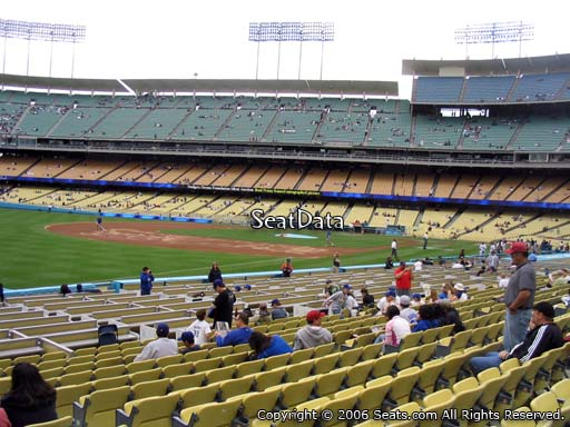 Seat view from field box section 43 at Dodger Stadium, home of the Los Angeles Dodgers