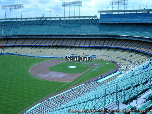 Seat view from reserve section 45 at Dodger Stadium, home of the Los Angeles Dodgers