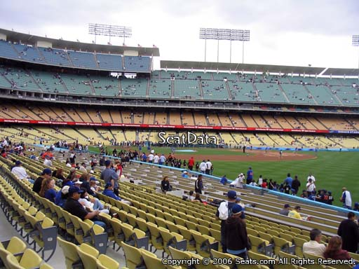 Seat view from field box section 46 at Dodger Stadium, home of the Los Angeles Dodgers