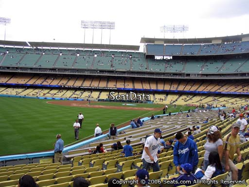 Seat view from field box section 49 at Dodger Stadium, home of the Los Angeles Dodgers