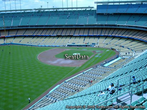 Seat view from reserve section 49 at Dodger Stadium, home of the Los Angeles Dodgers