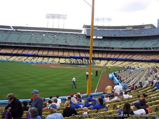 Seat view from field box section 51 at Dodger Stadium, home of the Los Angeles Dodgers