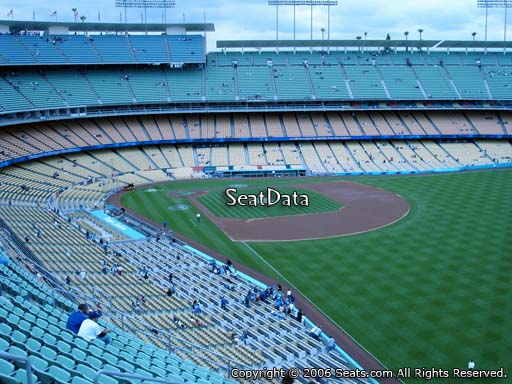 Seat view from reserve section 52 at Dodger Stadium, home of the Los Angeles Dodgers