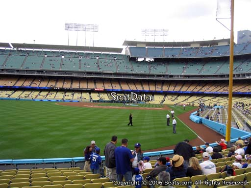Seat view from field box section 53 at Dodger Stadium, home of the Los Angeles Dodgers