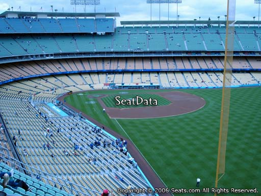 Seat view from reserve section 56 at Dodger Stadium, home of the Los Angeles Dodgers