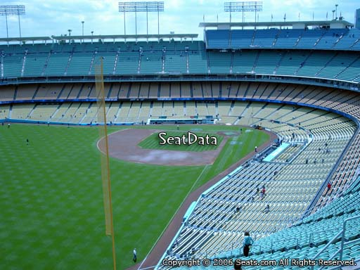 Seat view from reserve section 57 at Dodger Stadium, home of the Los Angeles Dodgers