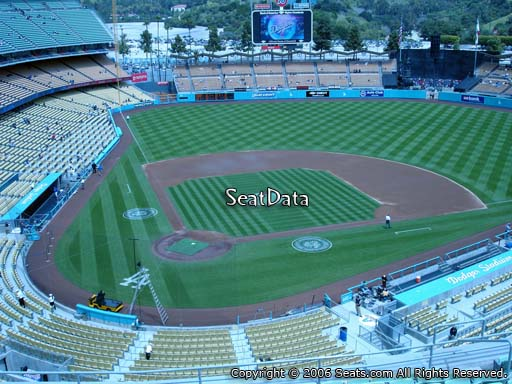 Seat view from reserve section 6 at Dodger Stadium, home of the Los Angeles Dodgers