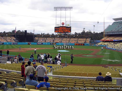 Seat view from dugout club section 5 at Dodger Stadium, home of the Los Angeles Dodgers