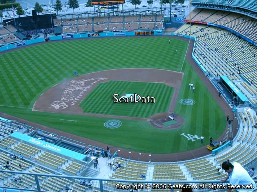 Seat view from top deck section 9 at Dodger Stadium, home of the Los Angeles Dodgers