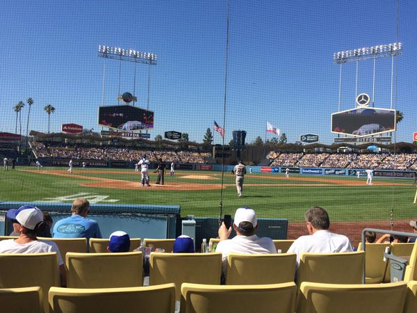 View from the Dugout Club seats at Dodger Stadium