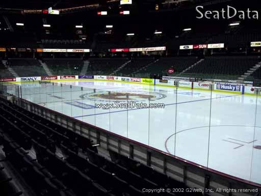 Seat view from section 122 at Scotiabank Saddledome, home of the Calgary Flames