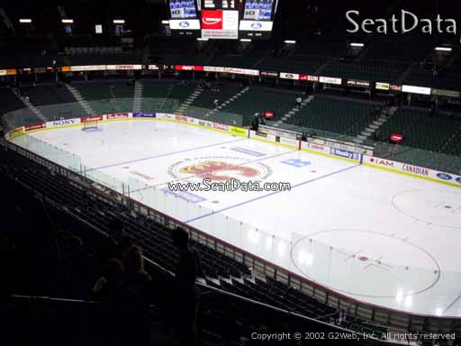 Seat view from section 201 at Scotiabank Saddledome, home of the Calgary Flames