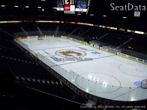 Seat view from section 202 at Scotiabank Saddledome, home of the Calgary Flames