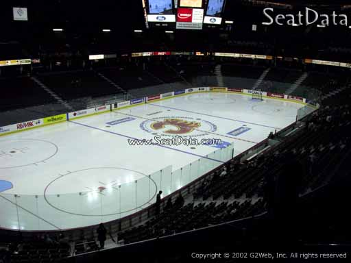 Seat view from section 208 at Scotiabank Saddledome, home of the Calgary Flames