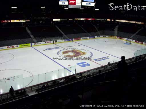 Seat view from section 210 at Scotiabank Saddledome, home of the Calgary Flames
