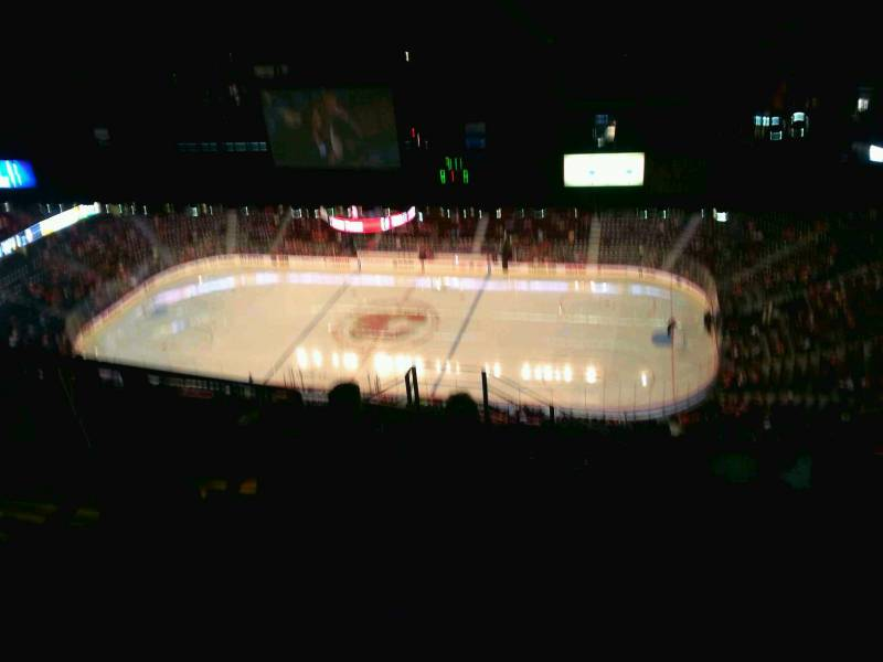 Seat view from press level section 1 at Scotiabank Saddledome, home of the Calgary Flames