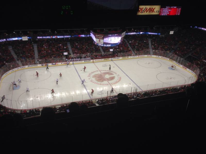 Seat view from press level section 7 at Scotiabank Saddledome, home of the Calgary Flames
